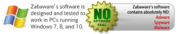 Zabaware's software is tested for Windows 8, 7, Vista, and XP. It contains no spyware, adware, or malware